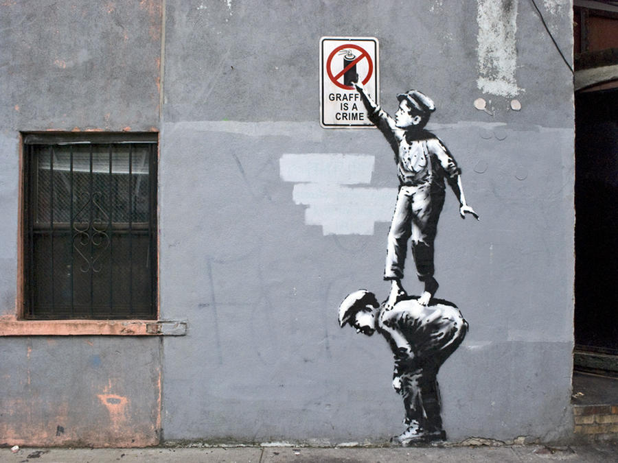 a visual analysis of the graffiti artwork done by banksy
